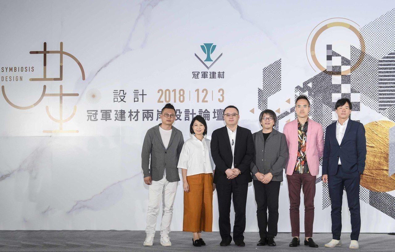 居然設計家簽約明星設計師 孫佳靚(左起)、台北市室內設計裝修同業公會理事長孫因、...