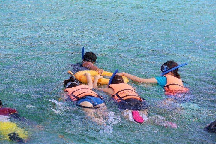 即使不會游泳,也可以由教練以泳圈帶領以浮潛方式前往欣賞沙丁魚風暴記者魏妤庭/攝影