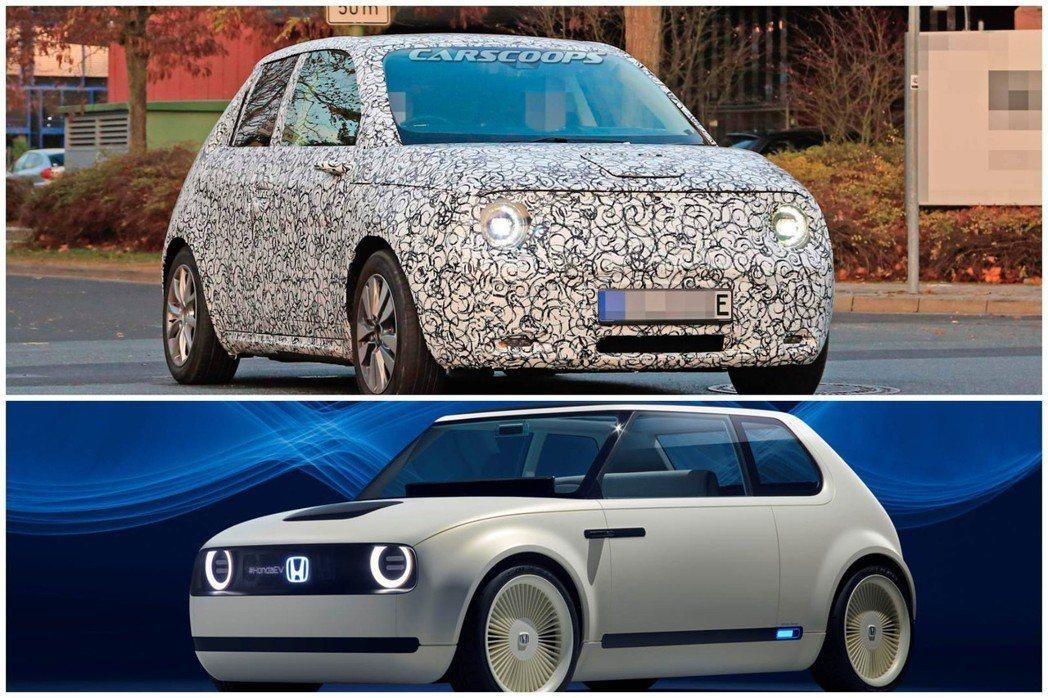 量產版Honda e偽裝測試車首次捕獲。 摘自Carscoops、Honda