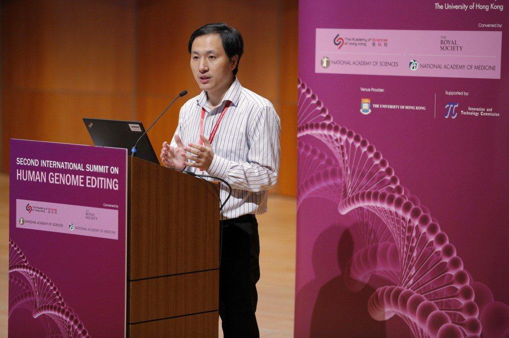 賀建奎上月28日出席香港大學舉辦的第二屆國際人類基因組編輯峰會。 圖/美聯社