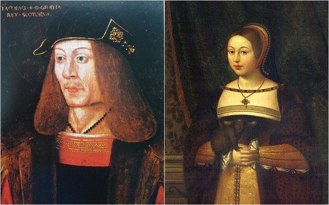 1502年,蘇格蘭國王詹姆士四世(左)和英格蘭簽訂了和平協定,接著娶了英格蘭國王...