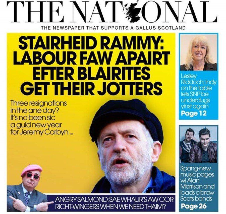 圖為2016年,蘇格蘭獨派大報《蘇格蘭國家報》使用蘇格蘭語的封面:Stairhe...