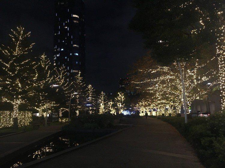 六本木Midtown周邊的路樹,都掛上聖誕燈飾。圖/記者吳姿賢攝影