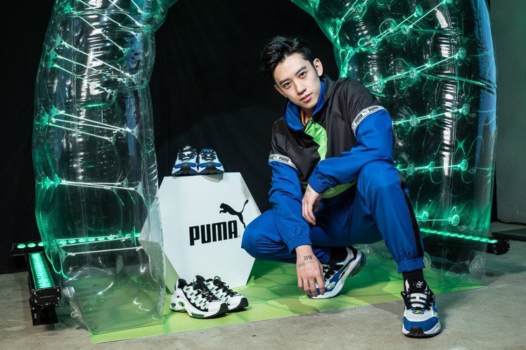 陳慕示範Puma Cell Venom男款慢跑鞋穿搭。圖/Puma提供