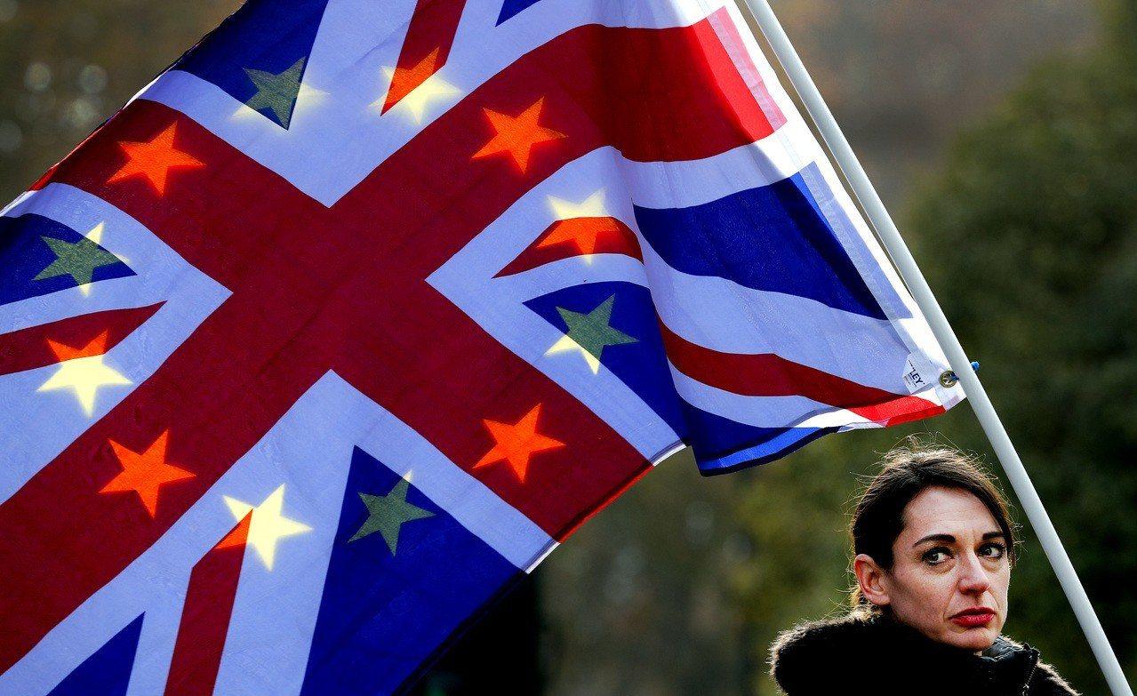 一名民眾舉旗反對英國脫離歐盟。(圖/美聯社)