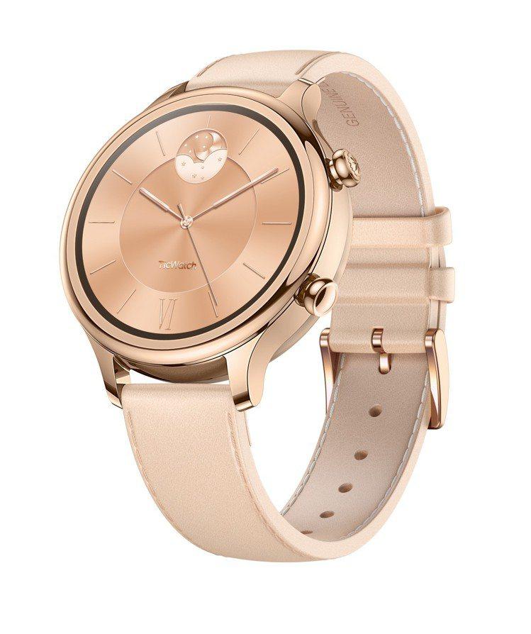 TicWatch C2智慧手表為女性設計了絕美的莫蘭迪粉色和雕花蝕刻工藝表冠。圖...