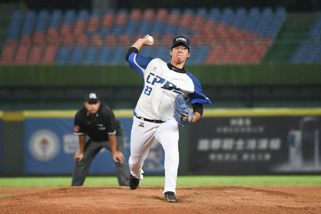 中職聯隊先發投手劉軒荅吞下冬盟首敗。圖/中華職棒提供