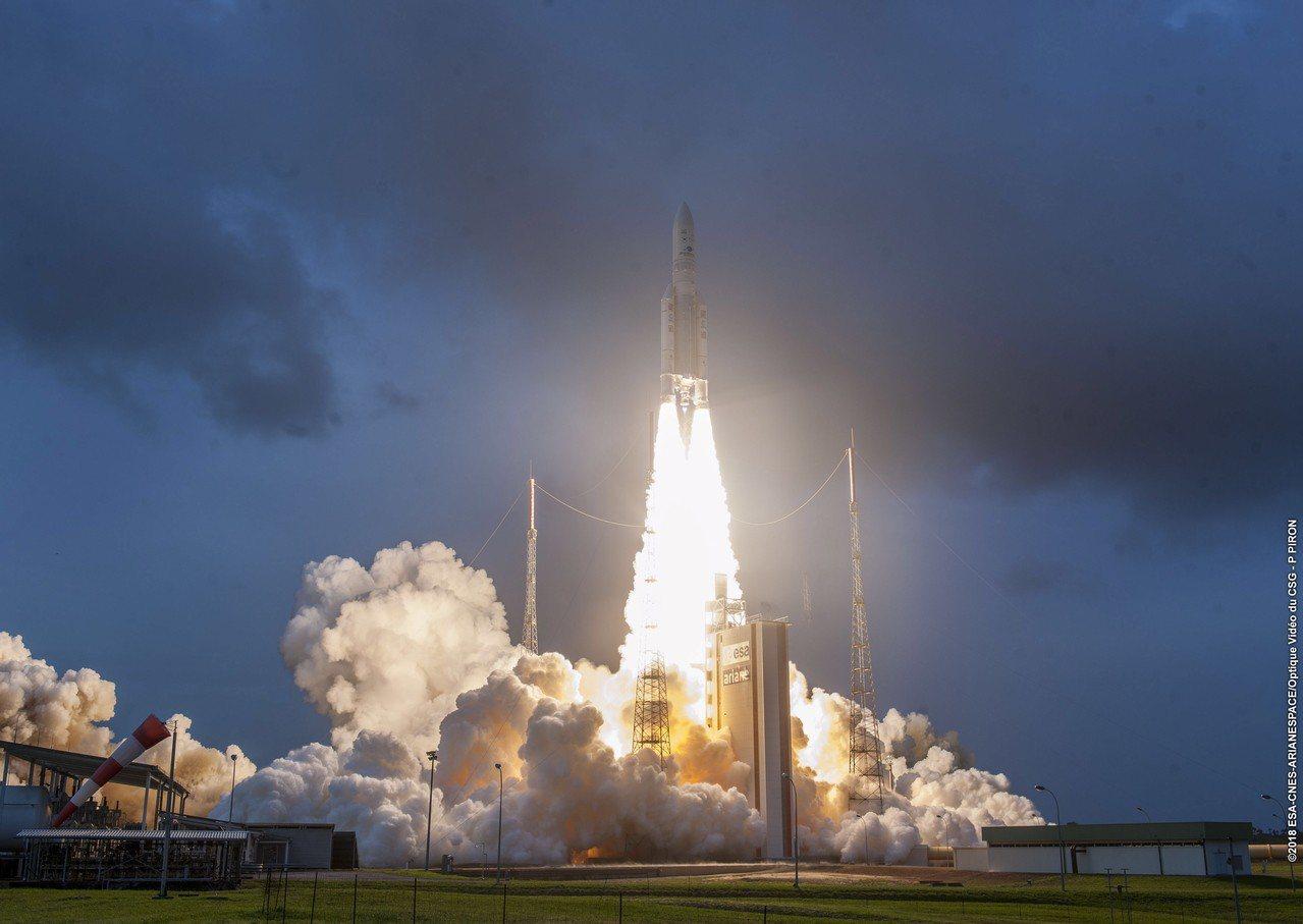 重達5854公斤、印度自製最重的「大鳥」衛星,今天凌晨2時許在法屬圭亞那庫魯(K...