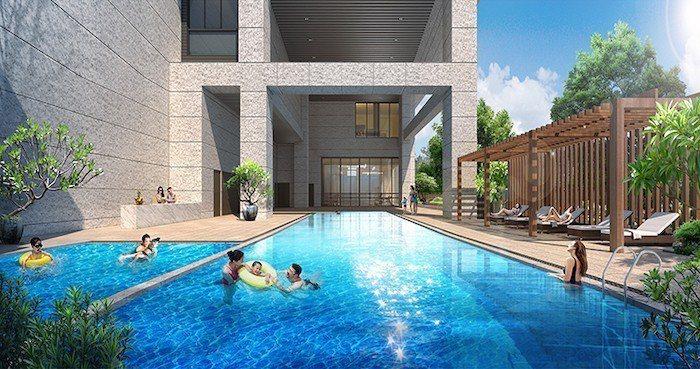 「新潤翡麗」公設規劃20米泳池,為A7重劃區中少有,吸引年輕族群青睞。(電腦模擬...