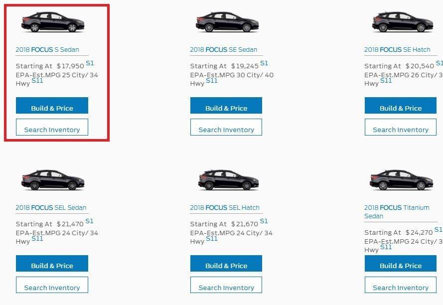 入門款4門Focus只要17,950美元。 摘自Ford USA官網