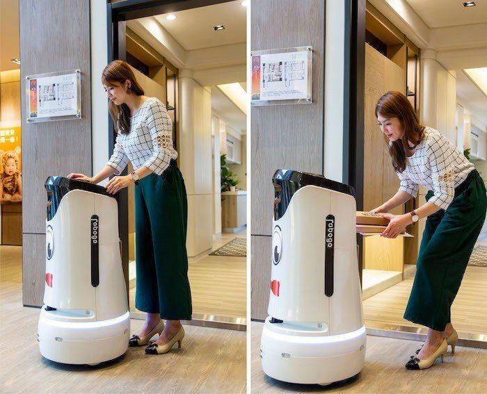 「新潤翡麗」特別引進五星飯店指定採用的送餐機器人,除了送餐點,還可以把包裹、掛號...