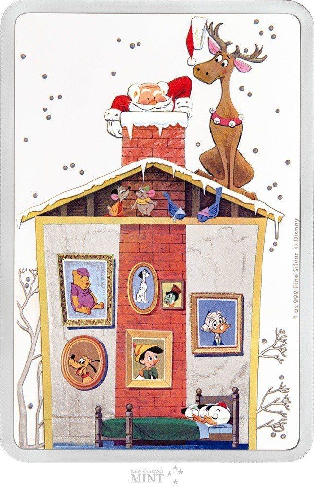 台銀發售聖誕快樂彩色精鑄銀幣,主題圖案為耶誕老人透過煙囪送禮物的逗趣畫面。 圖/...