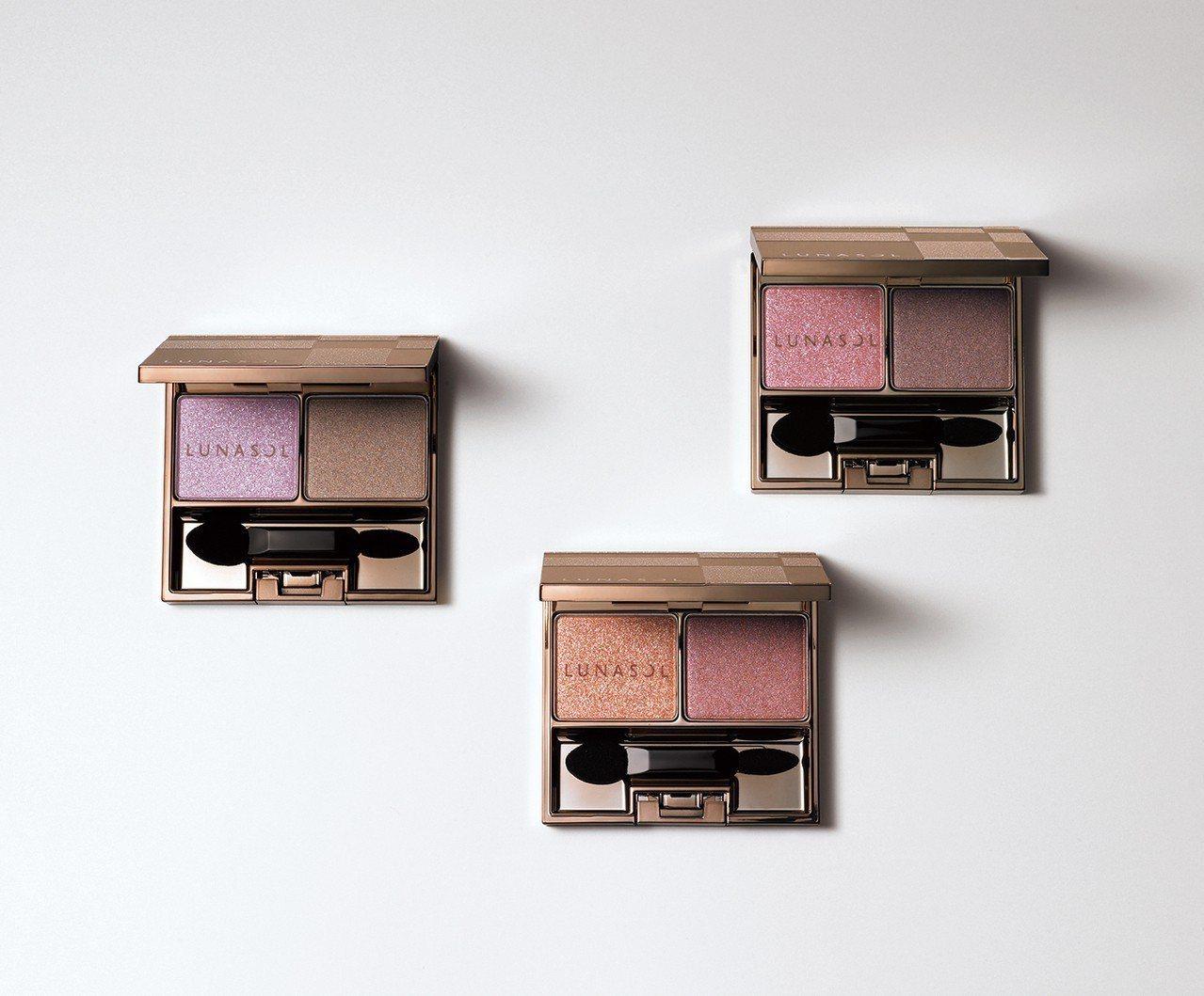 LUNASOL雙彩眼盒3款各1,500元。圖/佳麗寶提供