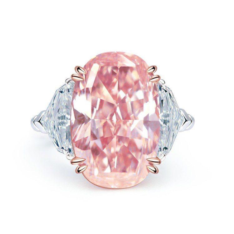 橢圓形橙粉紅鑽戒指,鑲嵌11.05克拉VVS2橢圓形橙粉紅鑽石主石,2億3,80...