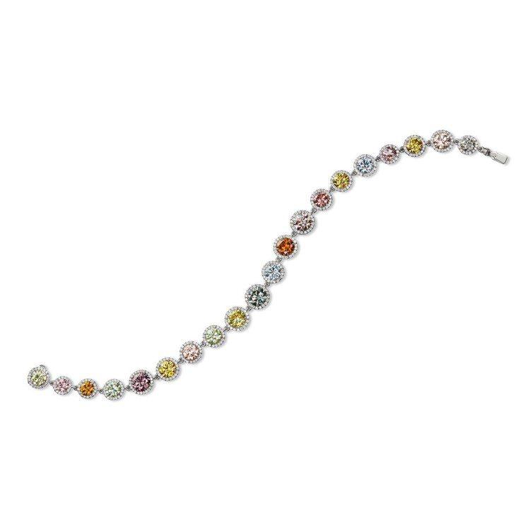 彩鑽手鍊,鑲嵌20顆粉紅、藍、綠、橘、紫、黃各色彩鑽總重2.30克拉,2,030...