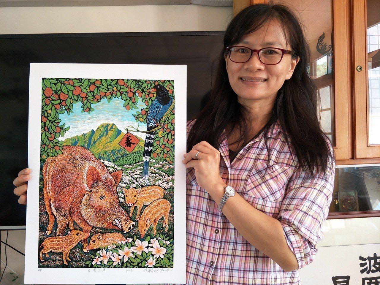 台南市新泰國小老師林淑芬近日榮獲文化部版印年畫首獎。記者謝進盛/攝影