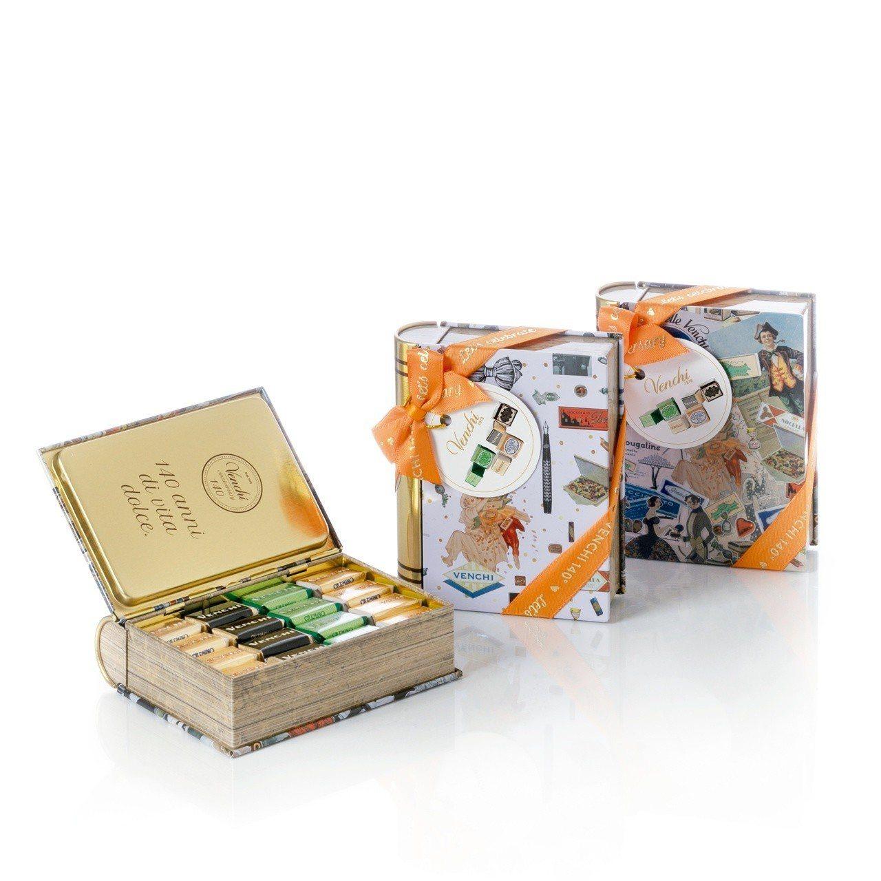 140週年限定-綜合巧克力復古書(造型鐵盒),售價900元。圖/Venchi提供