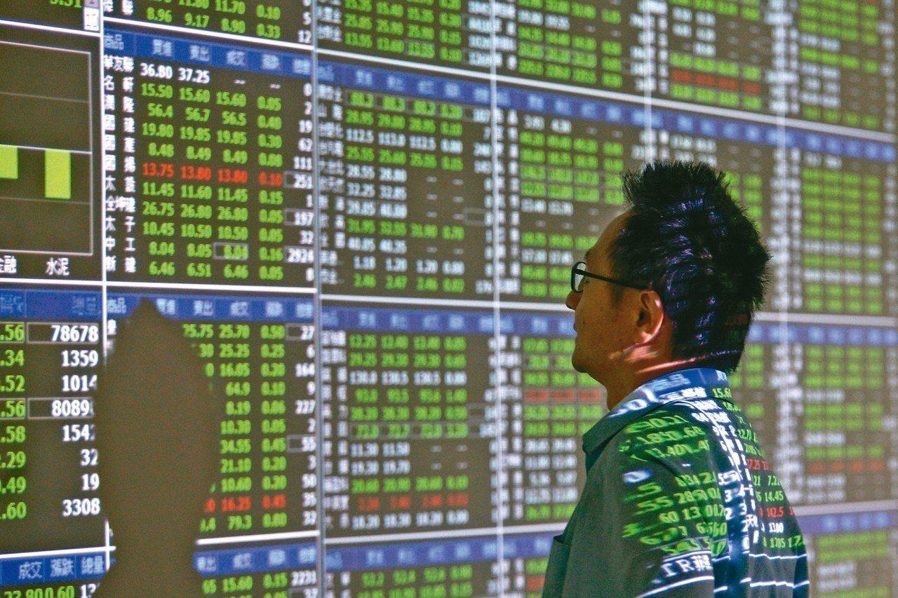 美股道瓊重挫,導致台北股市昨天大跌一六六點,再度跌破萬點關卡,證券行的螢幕一片綠...