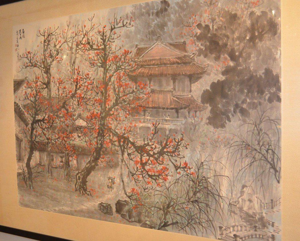 王國和遊南園,創作了「南園春雨」。  陳慧明 攝影