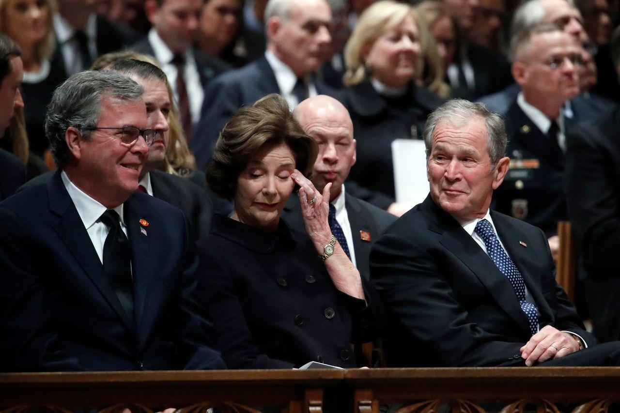 老布希追思會5日於華盛頓國家大教堂(Washington National Ca...