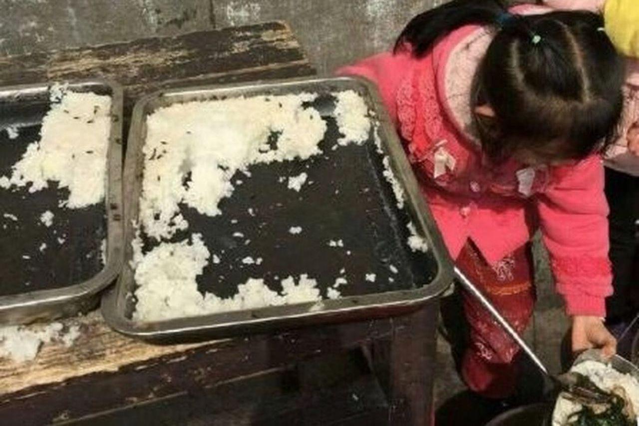 湖南一所學校的米飯上有蒼蠅。(圖/翻攝自觀察者網)