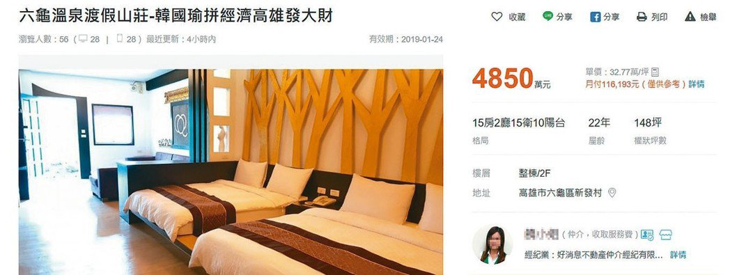 韓國瑜還沒上任,高雄房市效應已出現,屋主開價紛紛調漲。 圖/截自591房屋交易