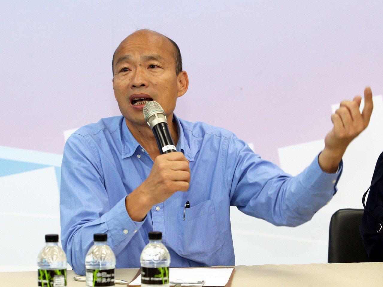 新任高雄市長韓國瑜(圖)25日將在愛河畔舉辦就職典禮,開放部分路段讓120個攤商...
