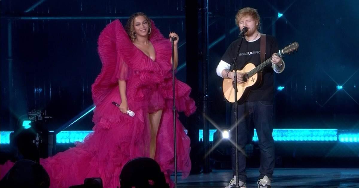 天后碧昂絲和紅髮艾德(Ed Sheeran)在南非舉辦的「世界公民節」合體演出,...