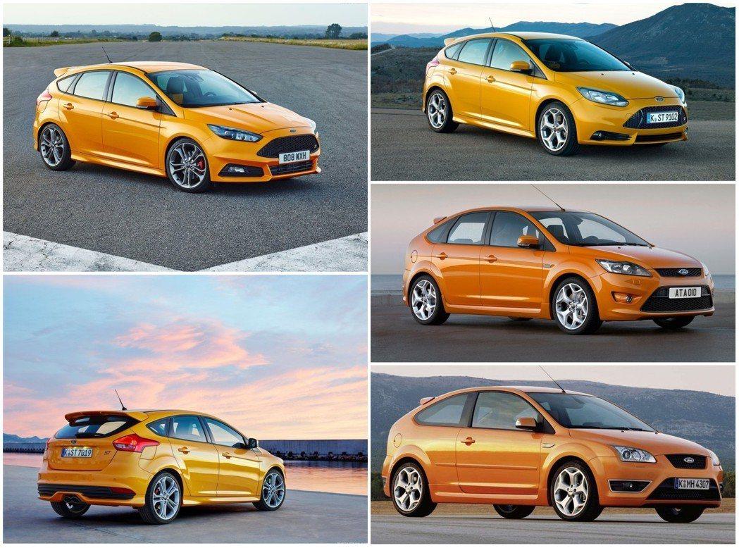 (左上、左下)第三代Focus ST小改款,(右上)第三代Focus ST,(右中)第二代Focus ST小改款,(右下)第二代Focus ST。 摘自Ford