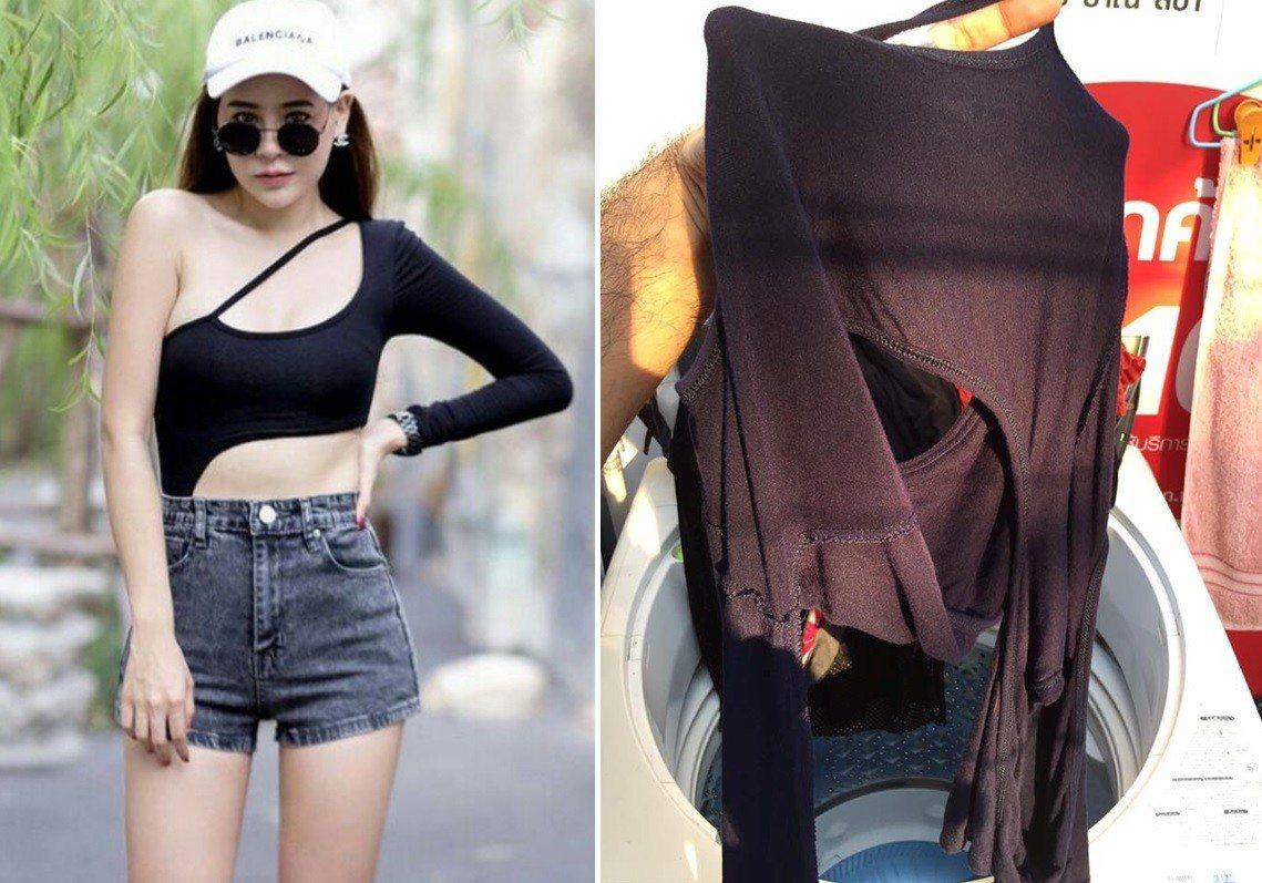 泰國一名男子將老婆的上衣放上網路,並求問網友「這種衣服到底要怎麼曬?」圖片來源/...
