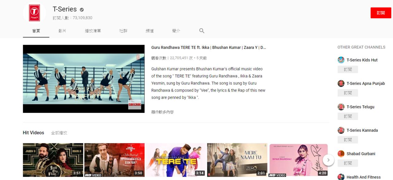 ▲ T-Series 的 YouTube 頻道,目前訂閱數已超過 7300 萬人...