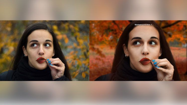 女攝影師爆料三星企圖魚目混珠,以單眼拍攝的照片(左)作為手機相機功能的宣傳照(右...