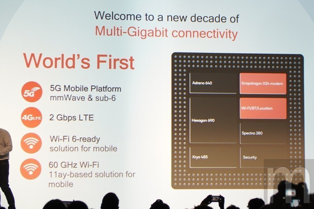 除了可配合搭載Snapdragon X50數據晶片支援5G連網功能,Snapdr...