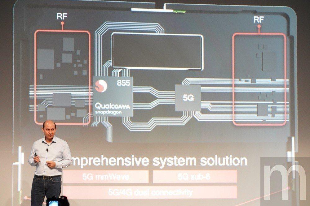 目前採用Snapdragon 855的手機若要支援5G網路的話,依然必須透過額外...