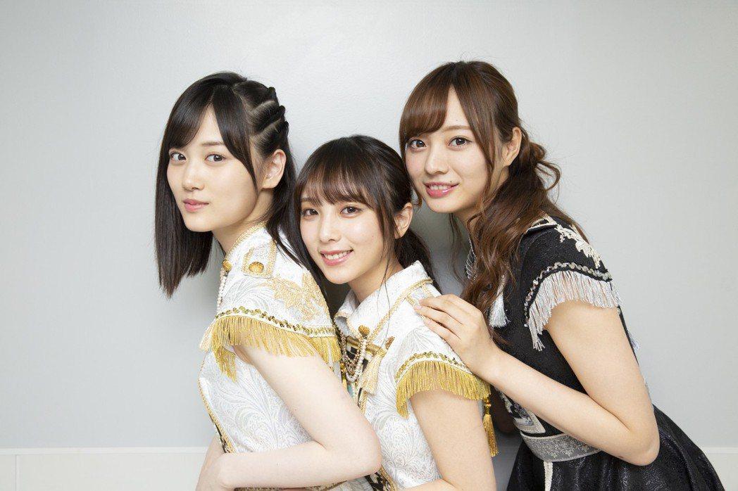 山下美月、與田祐希、梅澤美波期待與台灣粉絲相見。圖/Sony music提供