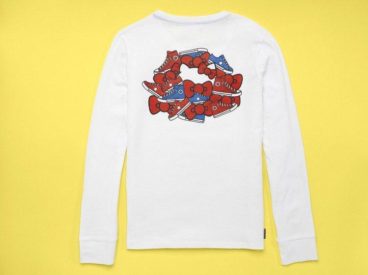 Converse與Hello Kitty聯名系列白色長袖T恤,1,280元。圖/...