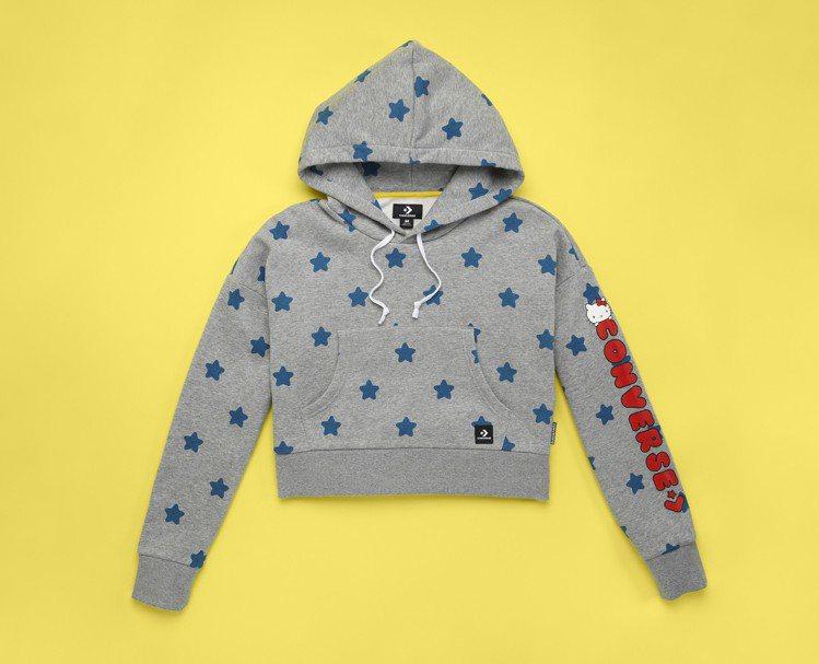Converse與Hello Kitty聯名系列灰色連帽衫,2,380元。圖/C...