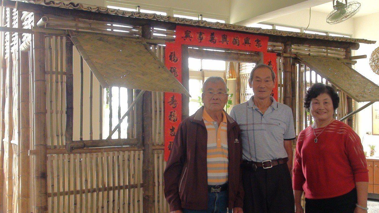 老師傅鄭錦宗和方進恭、方蔡素楨夫婦(左起至右)傳承竹編工藝。記者謝恩得/攝影