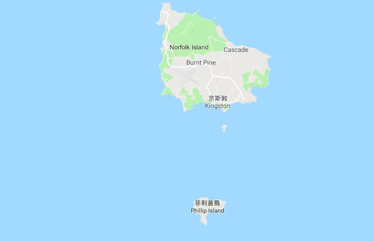 澳洲諾福克島東北部今天發生規模6.0地震。取自Google map