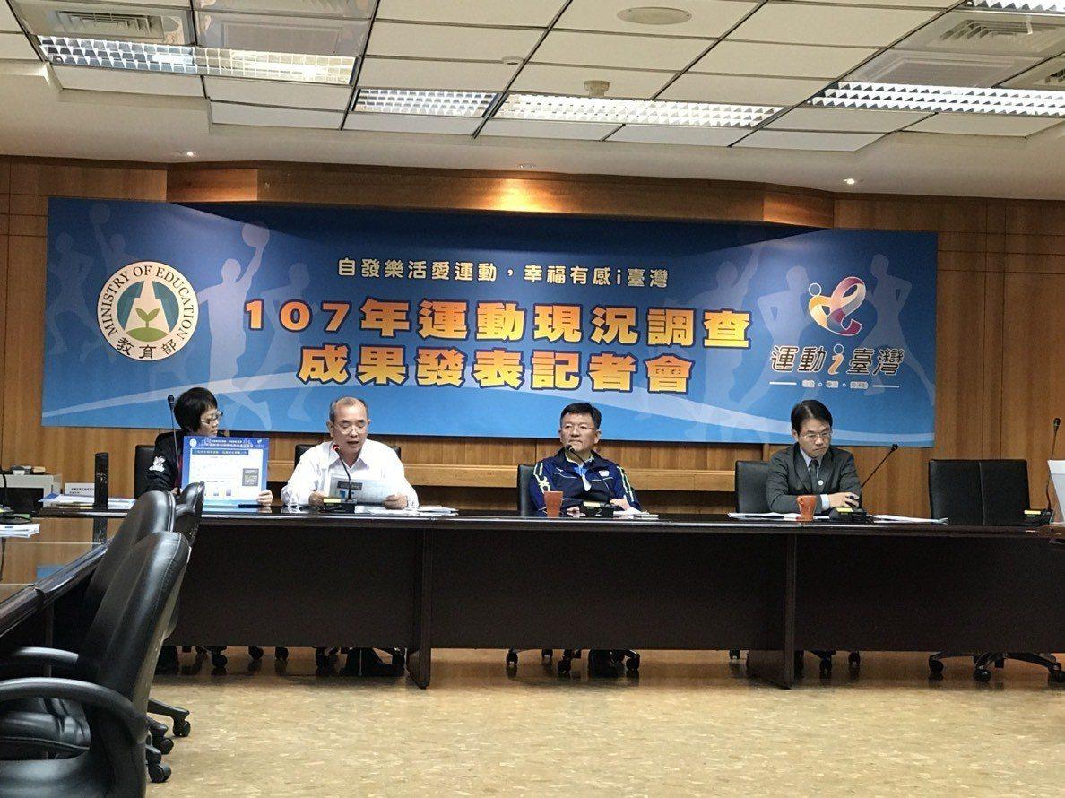 體育署今天公布107年運動現況調查成果。記者劉肇育/攝影