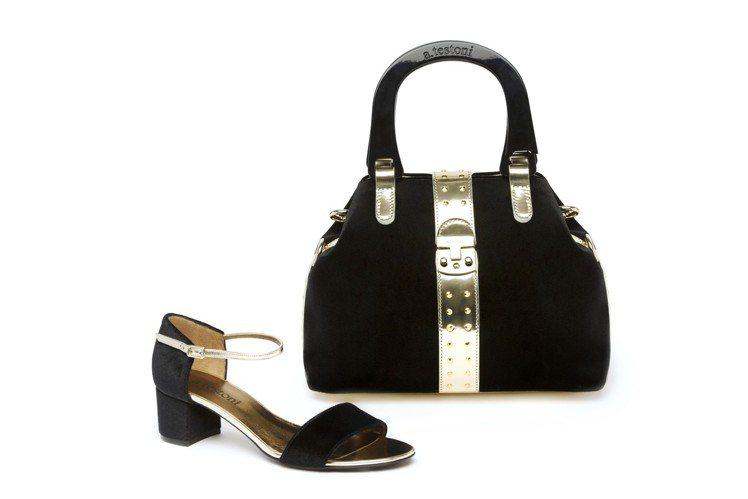 a.testoni Monica晚宴包與跟鞋可搭配成套,手袋售價68,800元、...
