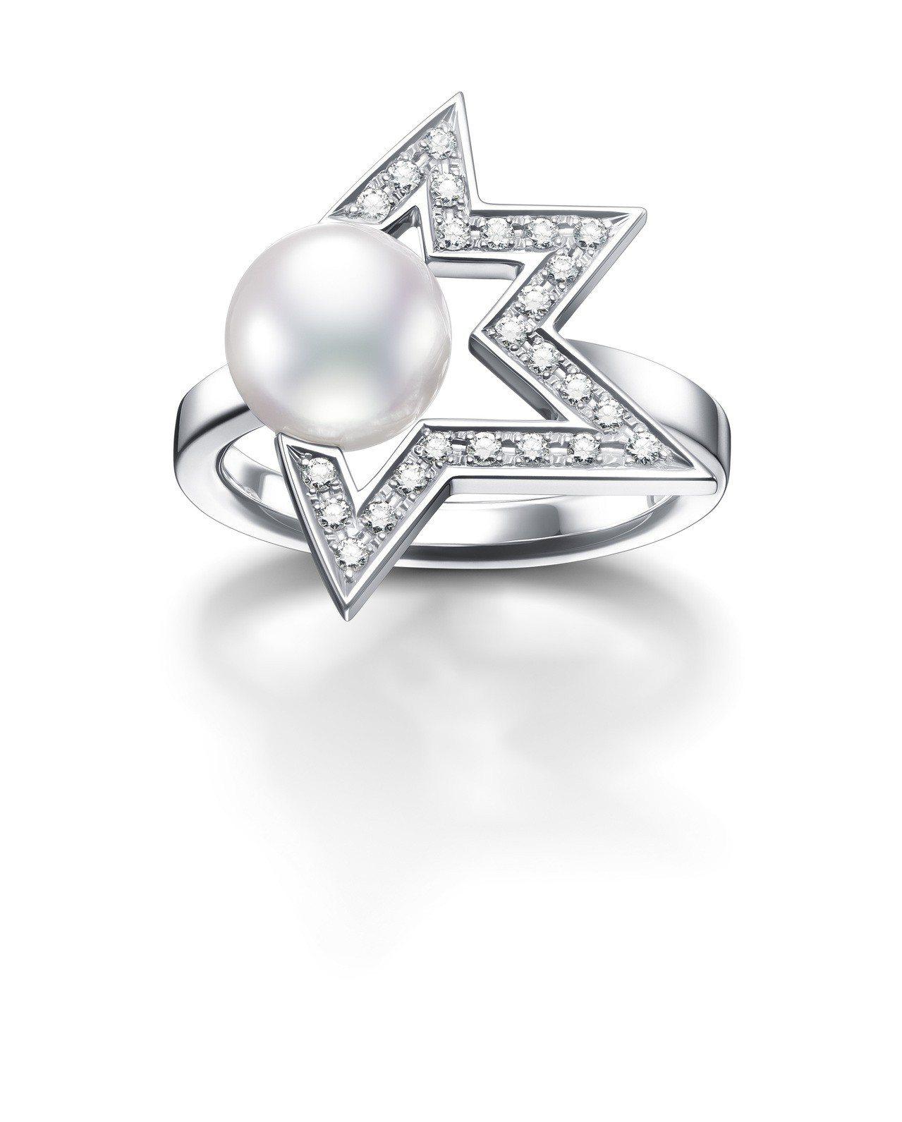 TASAKI comet plus diamond 鑽石珍珠白K金戒指,10萬3...