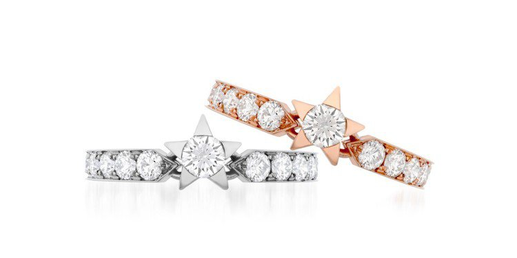 Hearts on Fire Illa戒指,白K金或玫瑰金鑲嵌鑽石總重0.74克...
