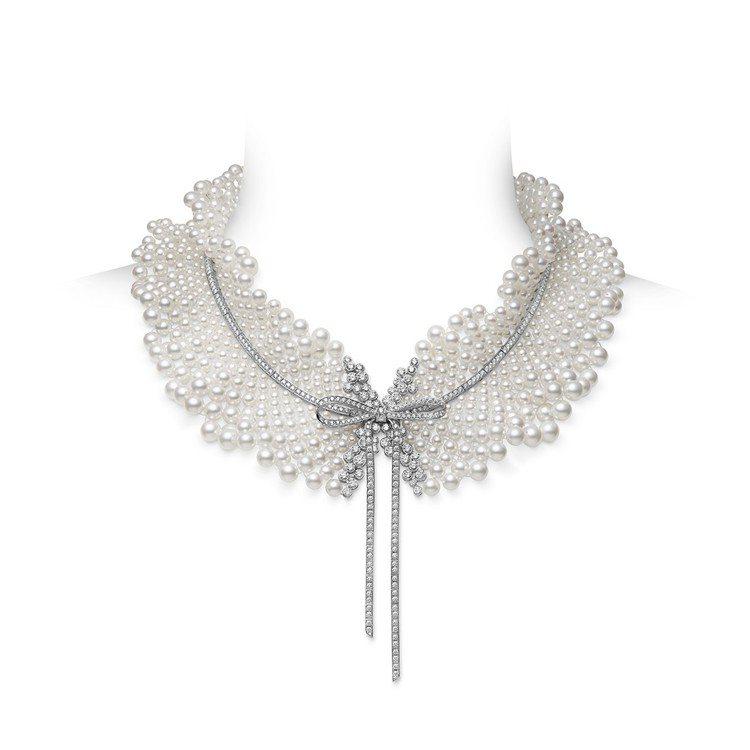 MIKIMOTO Jeux de Rubans日本Akoya珍珠鑽石緞帶高級珠寶...