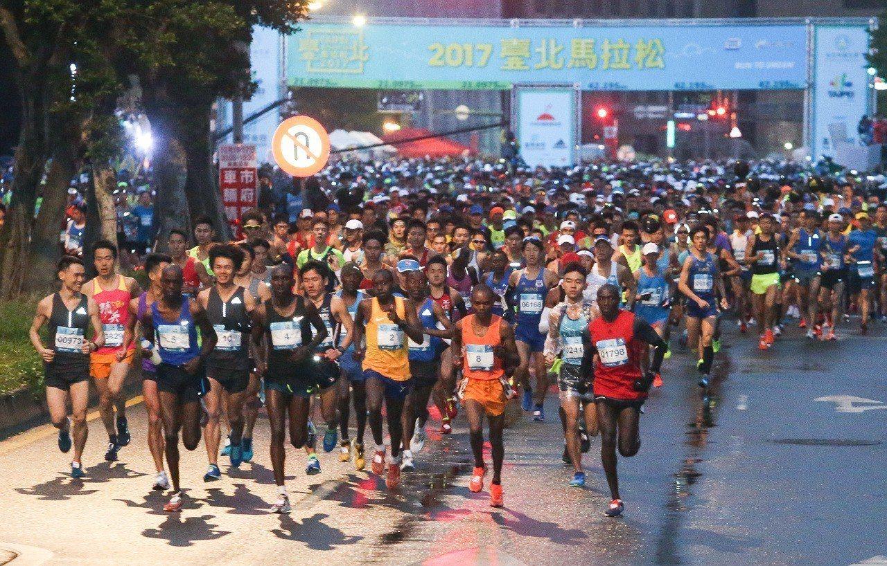 去年台北馬拉松,有2.7萬人參加。 聯合報系資料照片