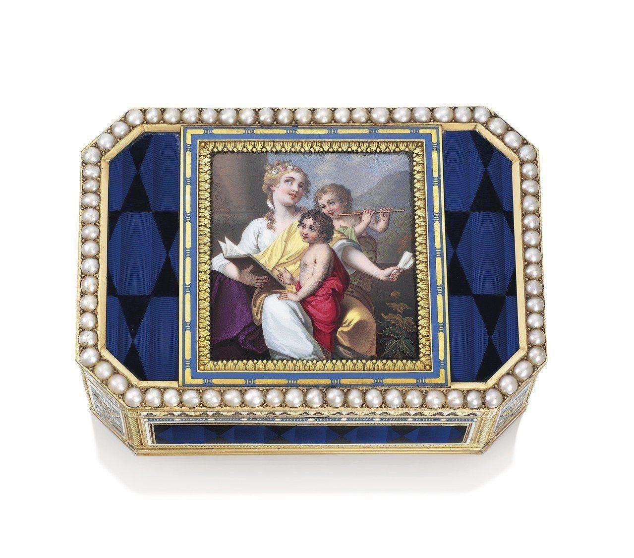 香港首度的「金盒」拍賣, 1804 年製於日內瓦、嵌有珠寶的瑞士琺瑯黃金自動音樂...