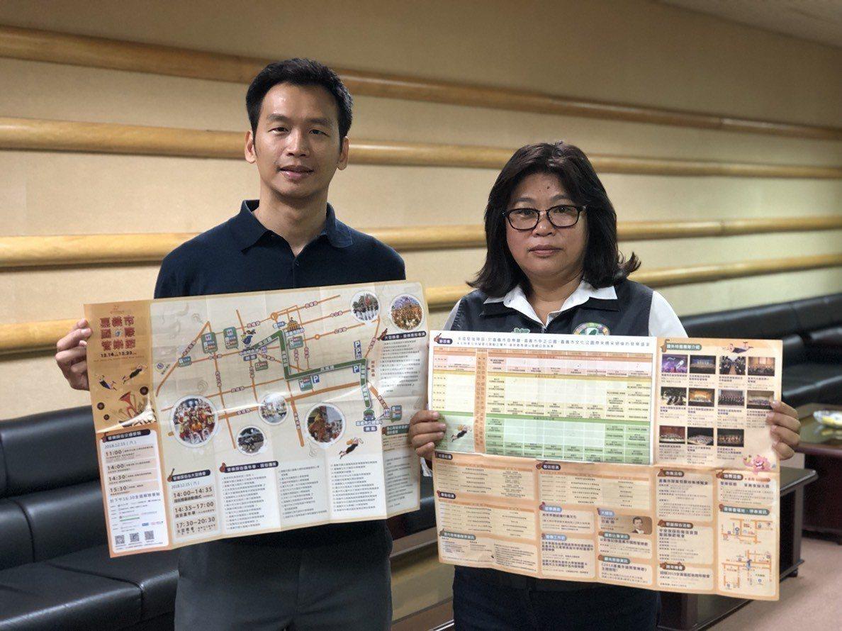 國民黨議員鄭光宏(左)、民進黨議員王美惠昨天在議會定期會質詢關注即將登場的嘉義市...