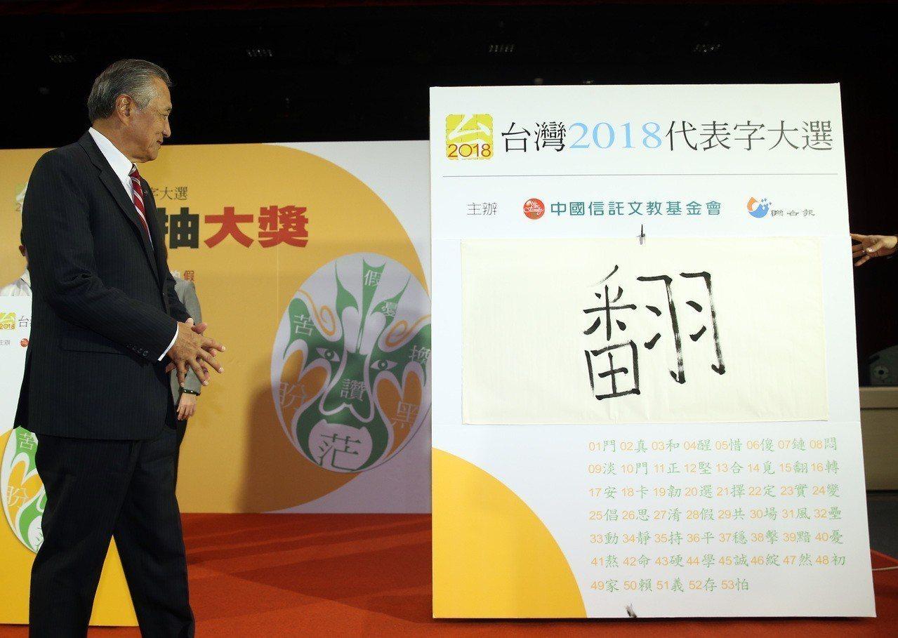 中國信託文教基金會董事長馮寄台揭曉2018年度代表字-「翻」。 記者曾吉松/攝影