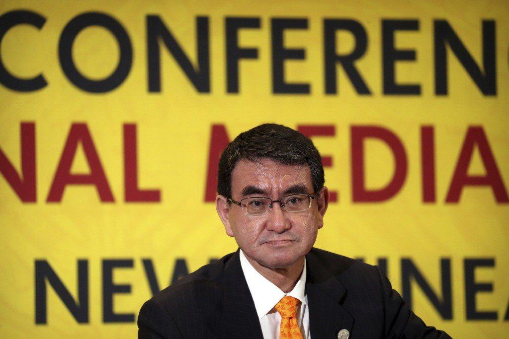日本外務大臣河野太郎。美聯社
