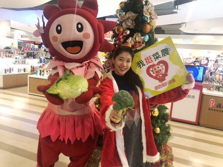 遠百採購500箱嘉義縣的青花菜、高麗菜,當作耶誕節檔期另類的來店禮。圖/遠百提供